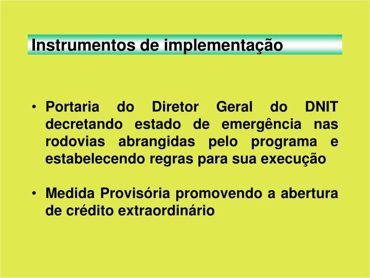 Instrumentos de implementação