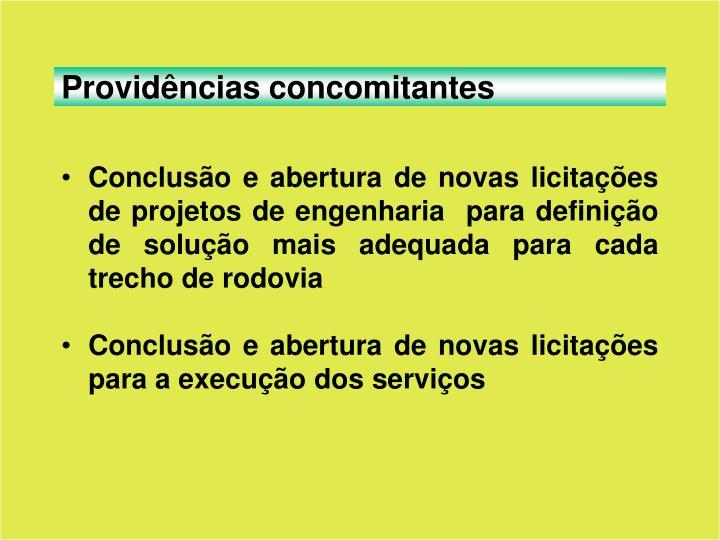 Providências concomitantes