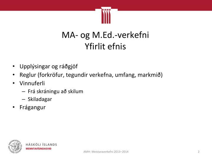 MA- og M.Ed.-verkefni