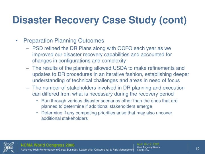 Disaster Recovery Case Study (cont)