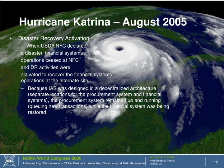 Hurricane Katrina – August 2005