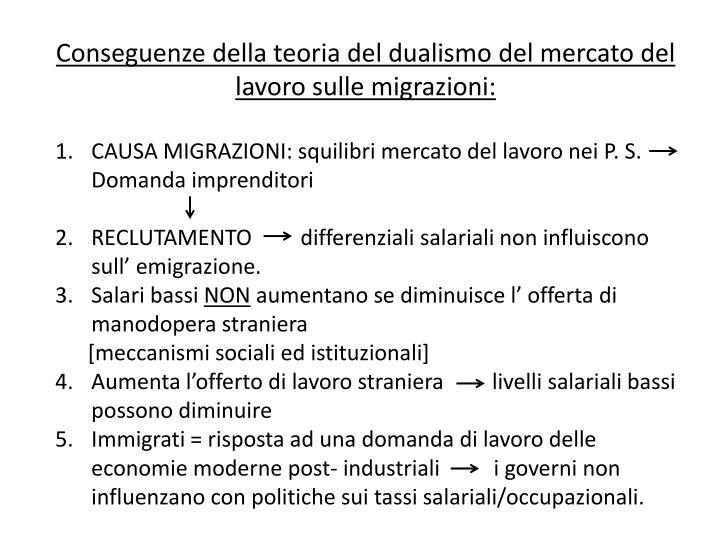 Conseguenze della teoria del dualismo del mercato del lavoro sulle migrazioni: