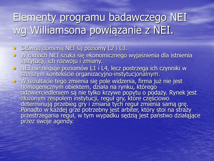 Elementy programu badawczego NEI wg Williamsona powiązanie z NEI.