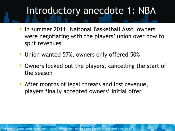 Introductory anecdote 1: NBA