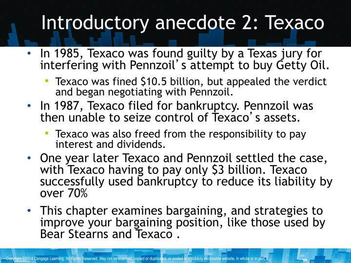 Introductory anecdote 2: Texaco