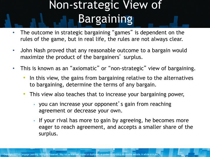 Non-strategic View of Bargaining
