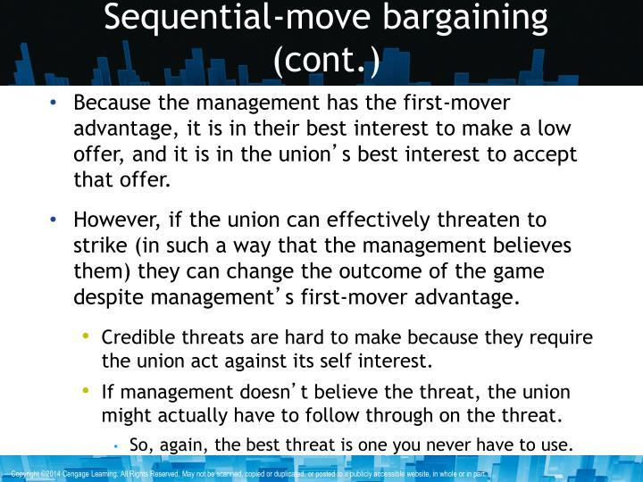 Sequential-move bargaining (cont.)