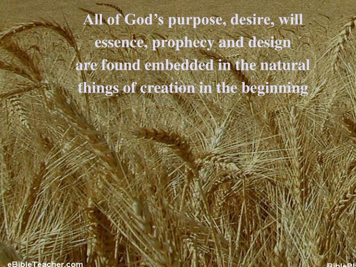 All of God's purpose, desire, will