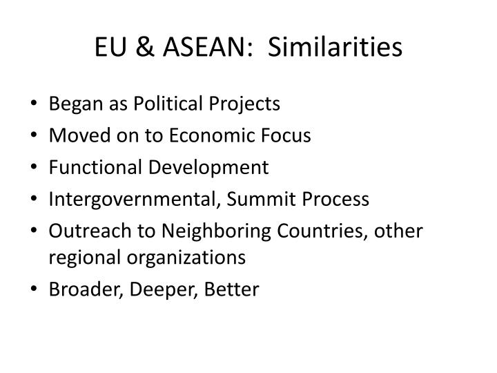 EU & ASEAN:  Similarities