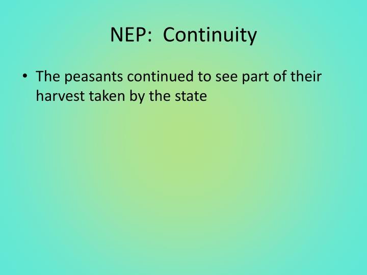 NEP:  Continuity