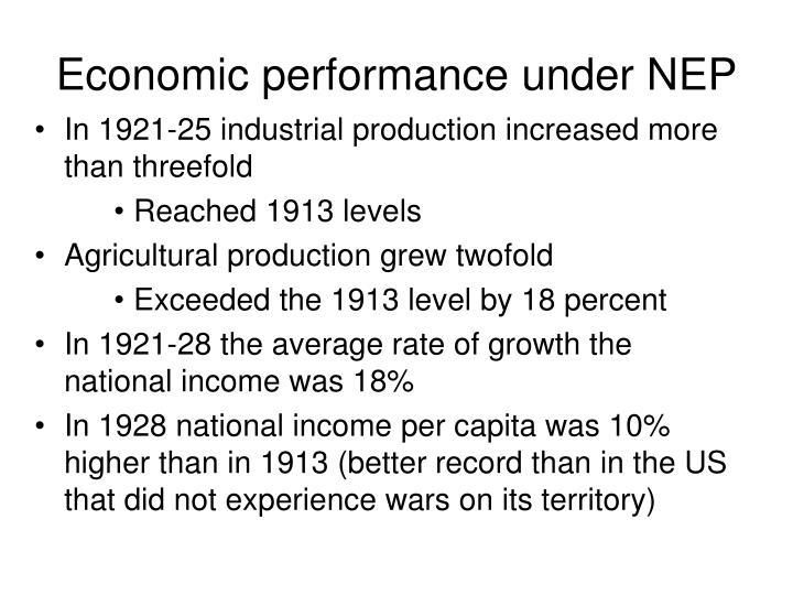 Economic performance under NEP