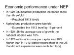 economic performance under nep