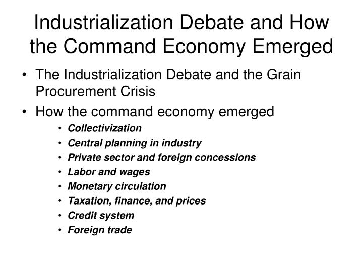 Industrialization Debate and How the Command Economy Emerged