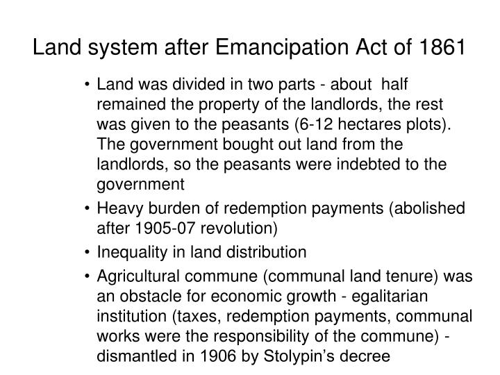 Land system after emancipation act of 1861