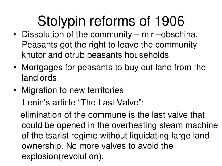 Stolypin reforms of 1906