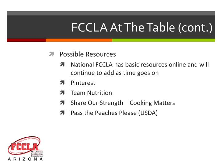 FCCLA At The Table (cont.)