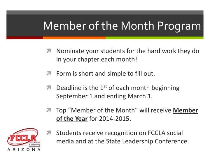 Member of the Month Program