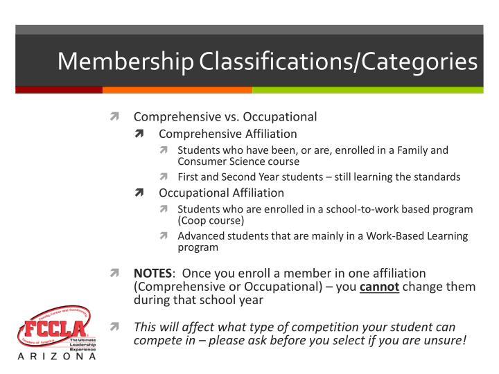 Membership Classifications/Categories