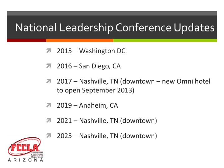 National Leadership Conference Updates