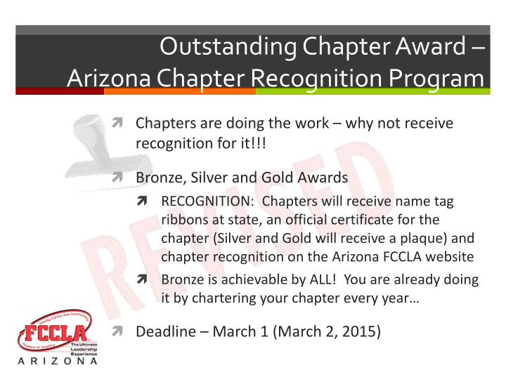 Outstanding Chapter Award –