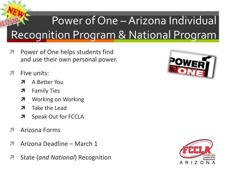 Power of One – Arizona Individual Recognition Program & National Program