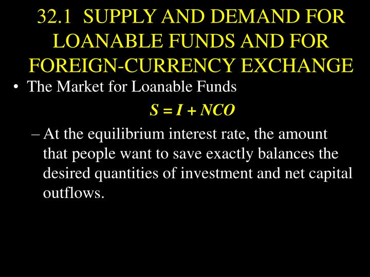 32.1  SUPPLY AND DEMAND FOR LOANABLE FUNDS AND FOR FOREIGN-CURRENCY EXCHANGE