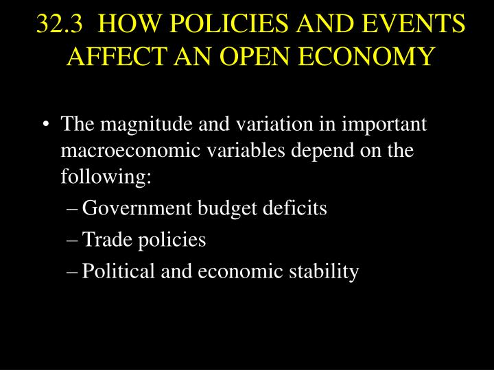 32.3  HOW POLICIES AND EVENTS AFFECT AN OPEN ECONOMY