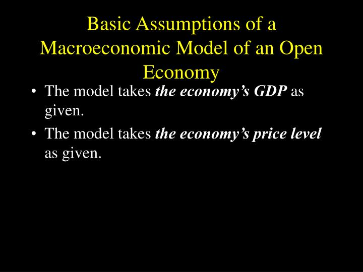 Basic Assumptions of a Macroeconomic Model of an Open Economy