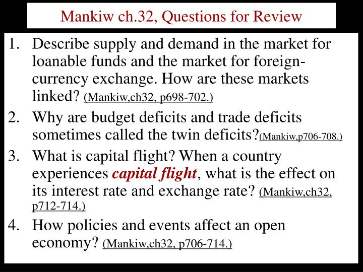 Mankiw ch.32, Questions for Review