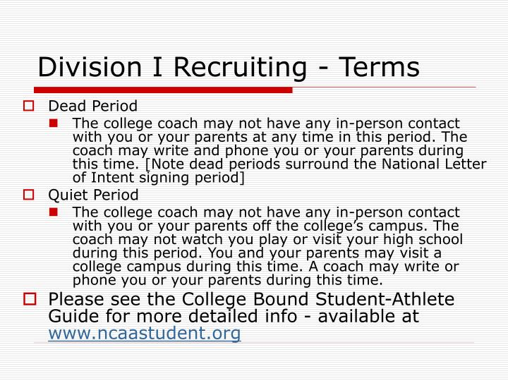 Division I Recruiting - Terms