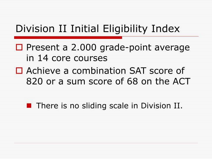 Division II Initial Eligibility Index