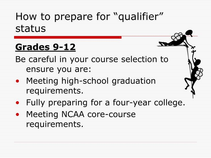 "How to prepare for ""qualifier"" status"