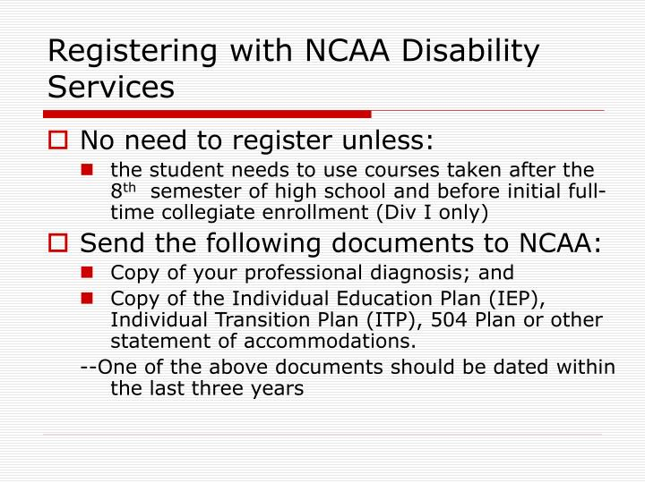 Registering with NCAA Disability Services