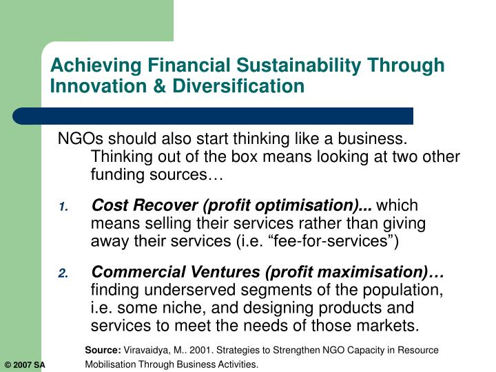 Achieving Financial Sustainability Through Innovation & Diversification