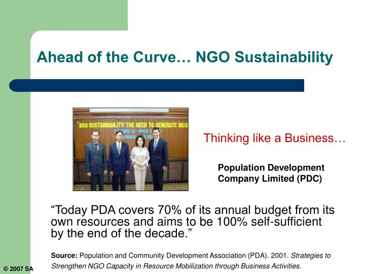 Ahead of the Curve… NGO Sustainability