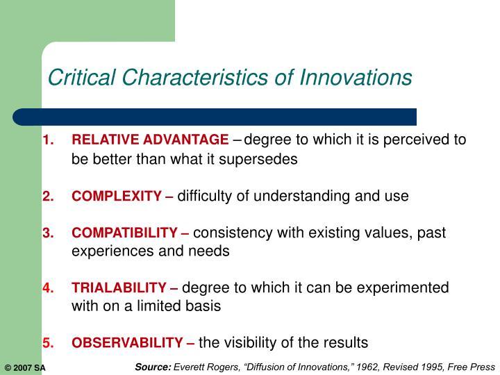 Critical Characteristics of Innovations