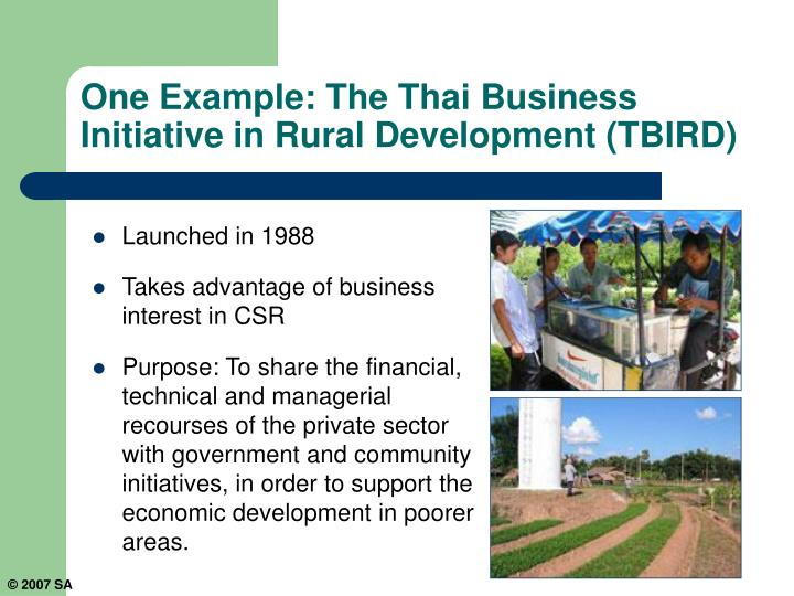 One Example: The Thai Business Initiative in Rural Development (TBIRD)