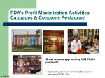 pda s profit maximization activities cabbages condoms restaurant