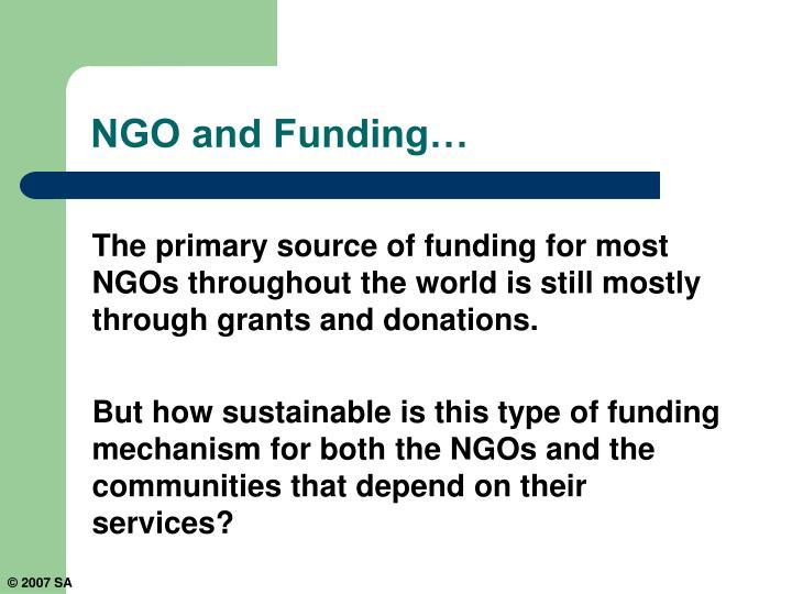 NGO and Funding…