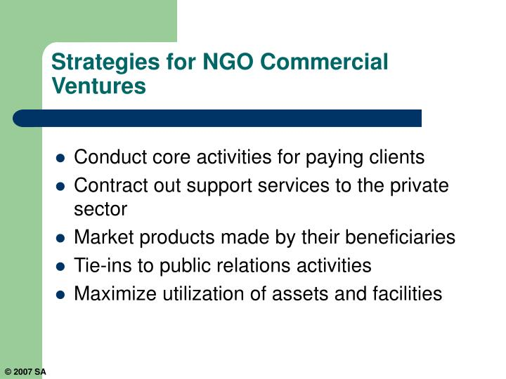Strategies for NGO Commercial Ventures