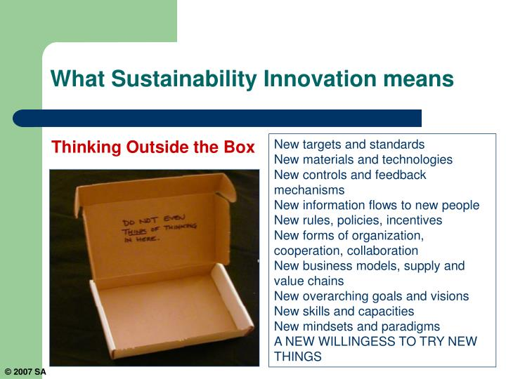 What Sustainability Innovation means