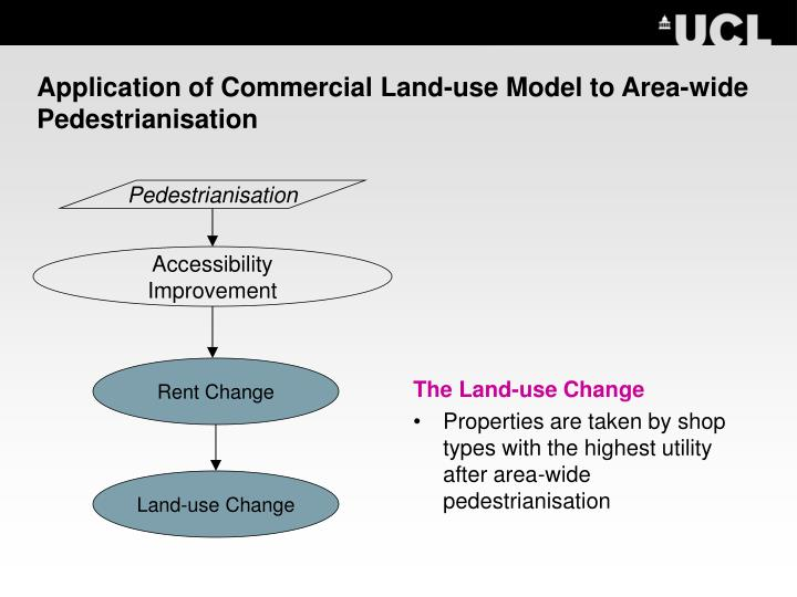 Application of Commercial Land-use Model to Area-wide Pedestrianisation