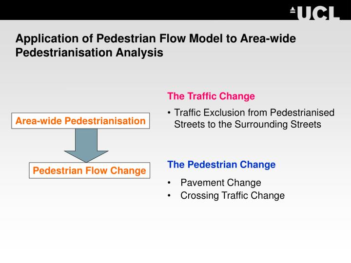 Application of Pedestrian Flow Model to Area-wide Pedestrianisation Analysis
