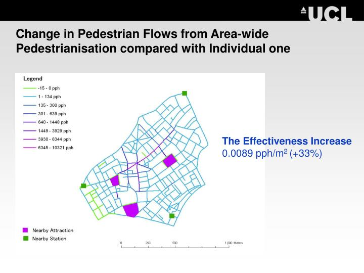 Change in Pedestrian Flows from Area-wide Pedestrianisation compared with Individual one