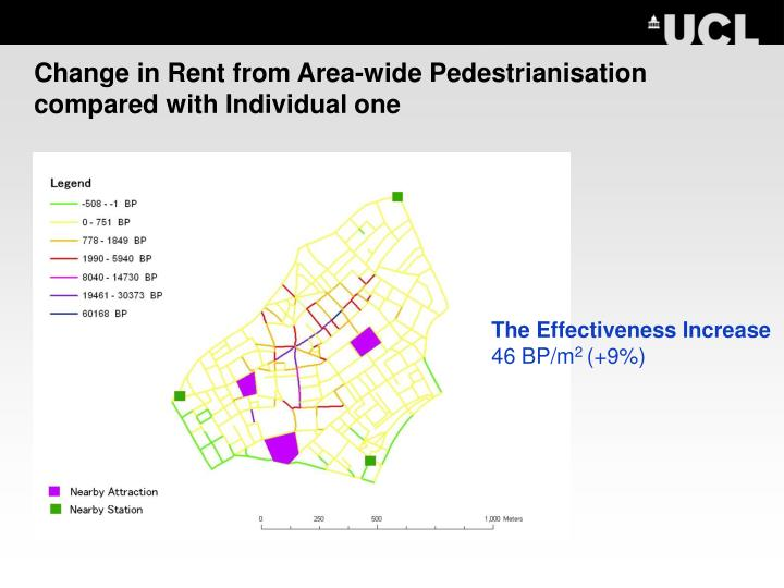 Change in Rent from Area-wide Pedestrianisation compared with Individual one