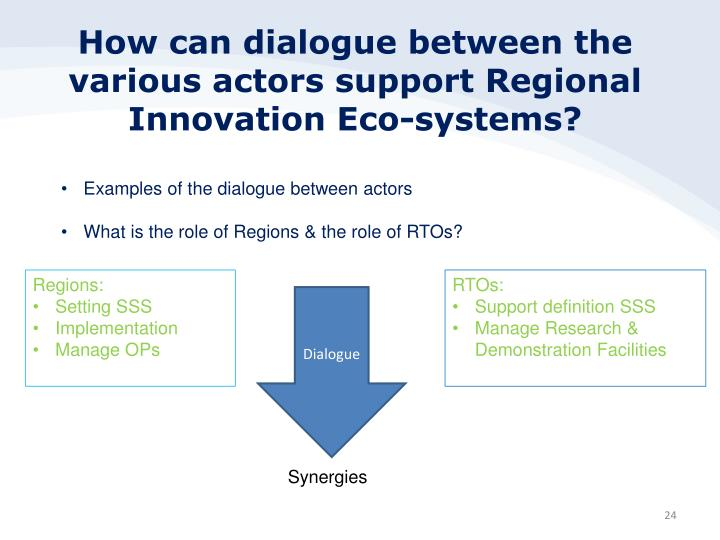 How can dialogue between the various actors support Regional Innovation Eco-systems?