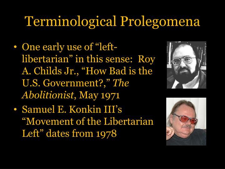 Terminological Prolegomena