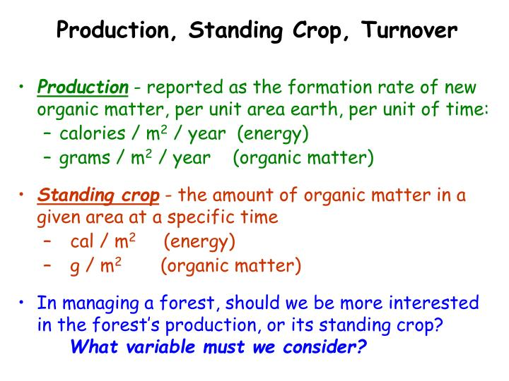 Production, Standing Crop, Turnover