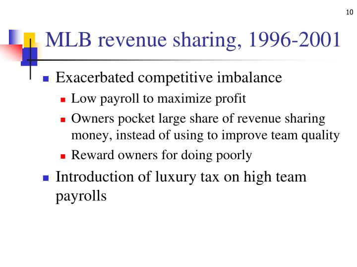 MLB revenue sharing, 1996-2001
