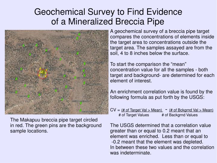 Geochemical Survey to Find Evidence